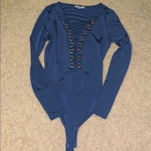 NEVER BEEN WORN thong lace up bodysuit